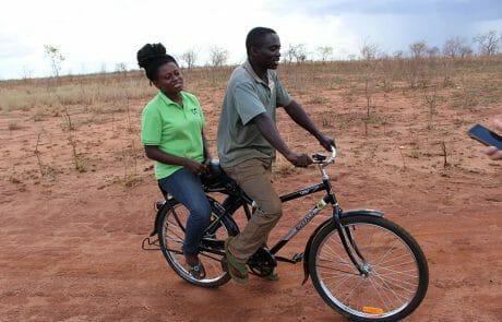 Bicycle handover to water keeper Johanna